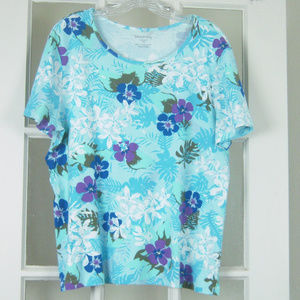 White Stag XXL Multi Blue Floral Pullover Top